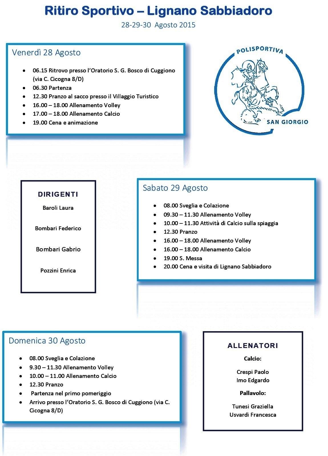 Programma - Ritiro Sportivo - Lignano Sabbiadoro 2